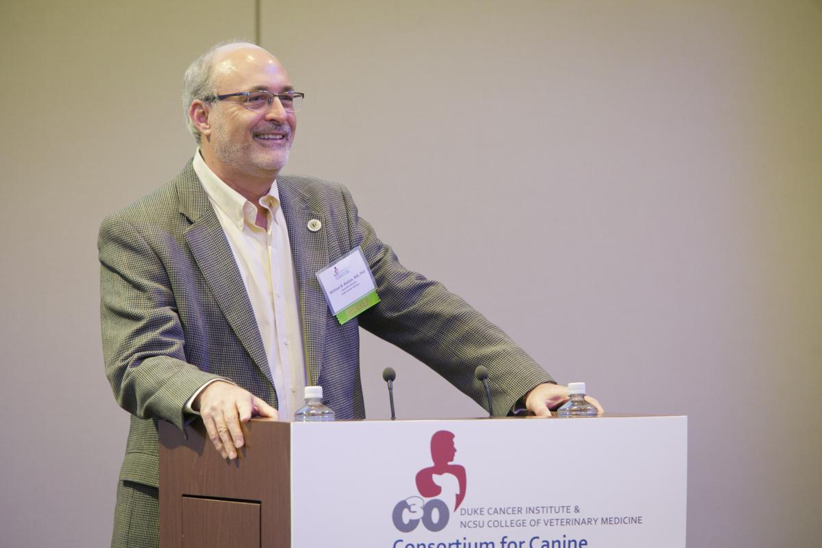 Michael B. Kastan, MD, PhD, executive director of the DCI, greets guests attending the 2016 C3O symposium last March at the SAS Executive Briefing Center Auditorium in Cary, NC.