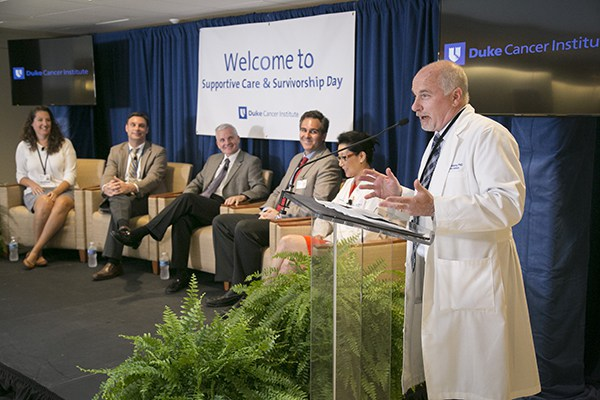 DCI deputy director Steve Patierno, PhD, moderates the panel discussion featuring Duke faculty, including Cheyenne Corbett, PhD; Daniel George, MD; Donald McDonnell, PhD; Michel Kouri, MD; and E. Shelley Hwang, MD. The panel took questions from the audience for discussion.