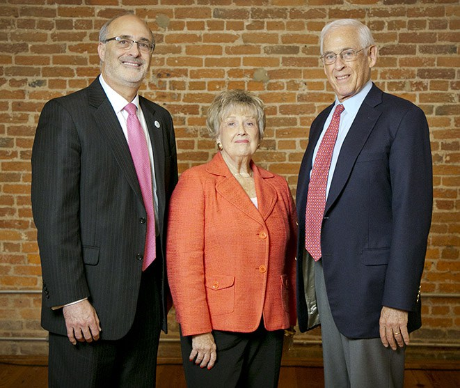 Michael B. Kastan, MD, PhD, executive director of the DCI; Macey Colvin, wife of the late O. Michael Colvin, MD; and John Mendelsohn, MD, who delivered the first-ever O. Michael Colvin Memorial Lecture.