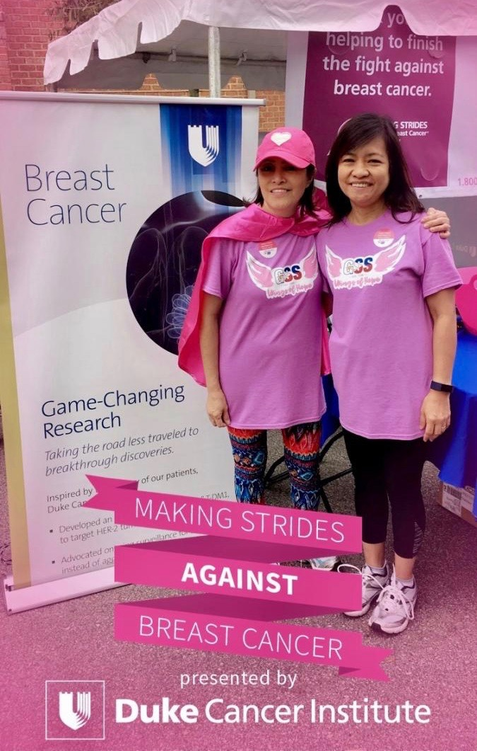 Breast cancer survivor Maria Tucker (left), and friend Marissa Guevarra, came out to make strides against breast cancer with their first-time team, Gabriella Silang Society.