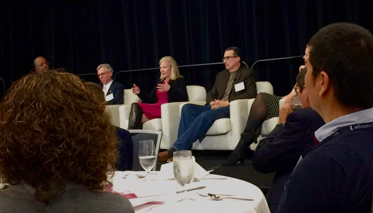 Allen Mask, MD, Health Team Physician at WRAL-TV (at far left), moderated a speakers' panel that included (from left to right) Komen Scholars Daniel Hayes, MD, Kimberly Blackwell, MD, Charles Perou, PhD, as well as DCI-based Komen Postdoctoral Fellow Erika Crosby, PhD.