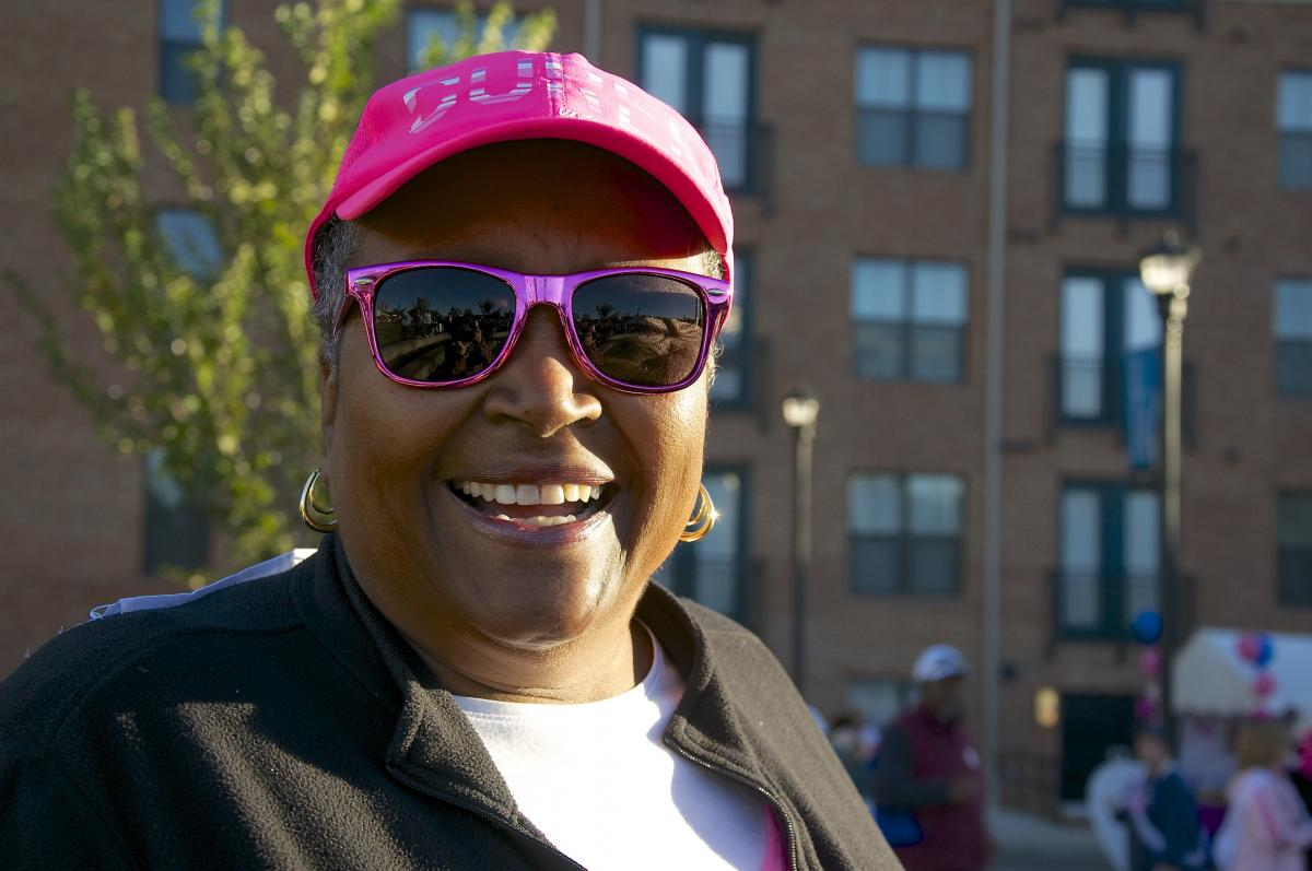 Ann Smith, 69, was diagnosed with breast cancer in 2014 while living in New York. During the course of her treatment, Ann and her husband, Ivin, moved to Durham, North Carolina. Ann recently completed her treatment at Duke Cancer Institute. She is pictured here at the Oct. 17 Making Strides Against Breast Cancer walk event. Ann participated on Team Duke Cancer Institute and is the team's top individual fundraiser, having collected $2,210 to help keep breast cancer research moving forward.
