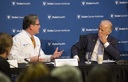 Vice President Joe Biden speaks Dr. John Sampson during a roundtable discussion on Wednesday, February 10, 2016. Shawn Rocco/Duke Health
