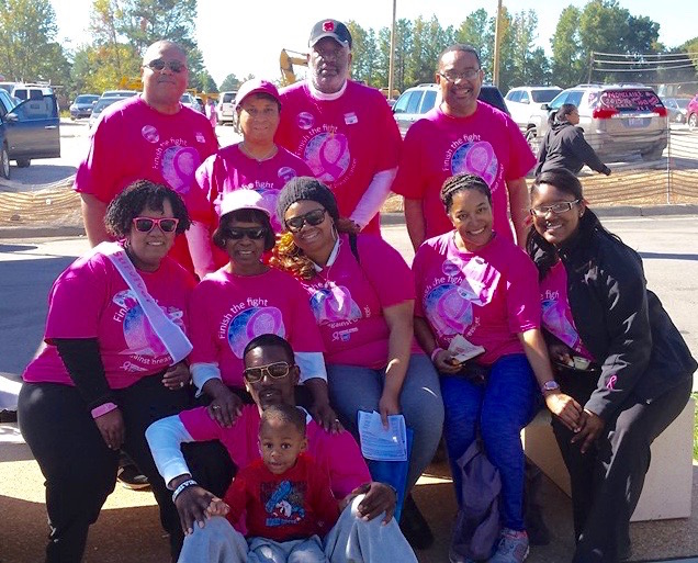 Bonita Holliday-Guy (bottom left) with her support team of family and friends; Making Strides 2015