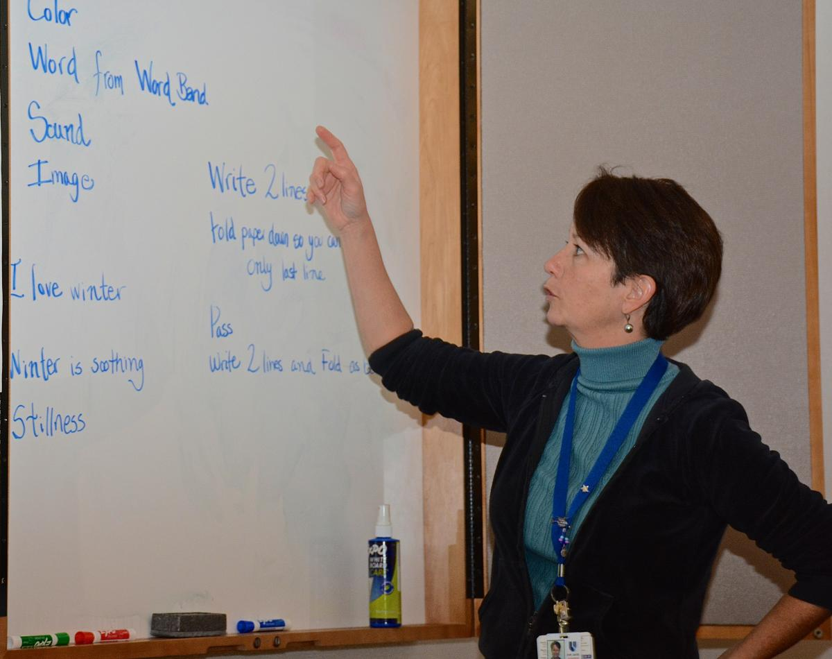 Grey Brown, facilitator for the workshop, uses a white board to identify words resonating with the writing group as a whole. Brown is the author of three published poetry books. She once served as director of literary arts, a program she cofounded in 1986 for the Health Arts Network at Duke.