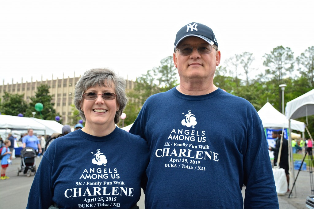 Margaret and Mark Groves enjoy the after run festivities at the 2015 Angels Among Us 5k.