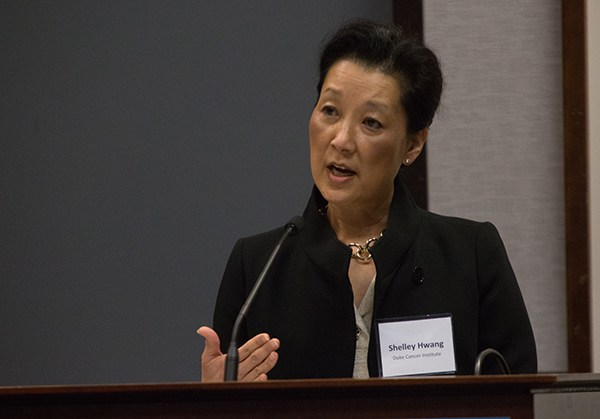 "Shelley Hwang, MD, MPH, shares with attendees at the June 29 Regional Cancer Moonshot. ""The 'Moonshot' offers the opportunity for scientists to decisively impact this landscape, and to change the trajectory of cancer research and discovery for the next generations,"" she said."