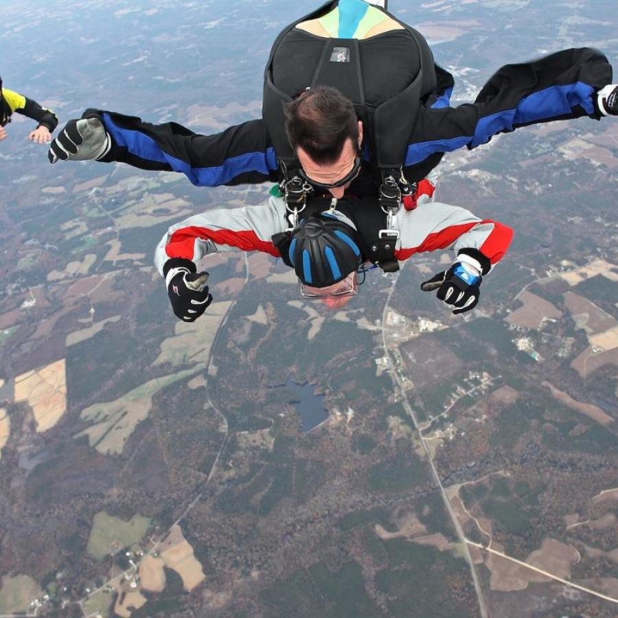 """""""This jump was the best one yet,"""" said Norris, after completing his third jump. """"Gregg even let me handle the shroud lines on our way down. I look forward to next year's jump."""""""