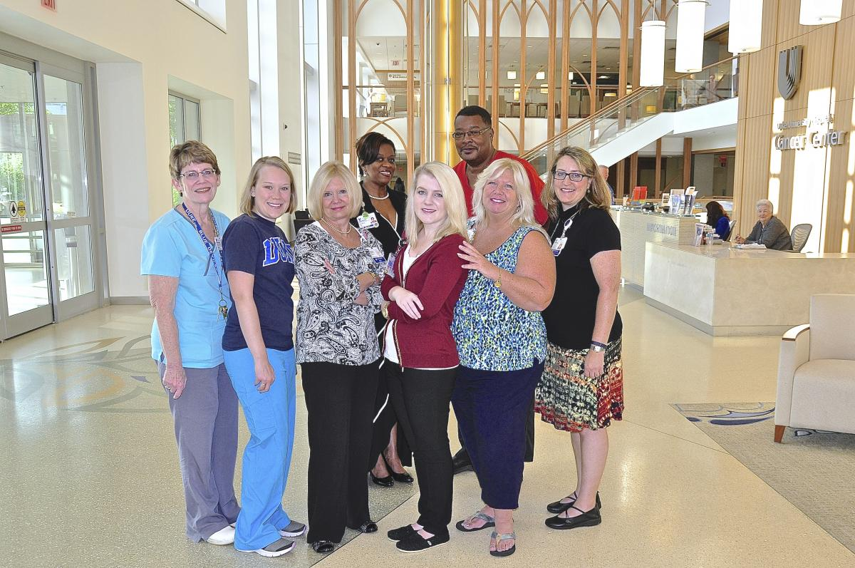 Duke Cancer Institute Phone Triage Team: (rom left to right first row) Kathy Von St. Paul, Melissa Leuch, Carolyn Burkhart, Kelly Sullivan, Felisa Anderson and Mary Ann Plambeck. (Second row left to right) Jaqueline Riddick and Larry Alston.