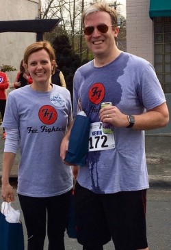Mary Beth Fee and Kevin Scanlon at CRUSH 2017. Fee, 39, was diagnosed with colon cancer last Spring and treated with chemotherapy last summer. On disability from work, the mother of two young boys has been under the care of Duke GI oncologist Hope Uronis, MD, since late January, and is currently being evaluated for an immunotherapy trial.