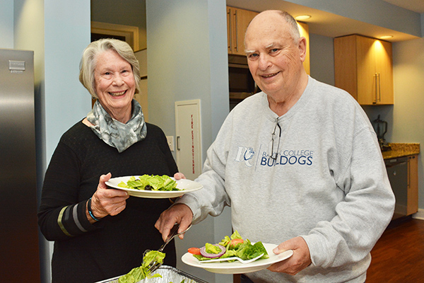 "Paul and Betsy Brewer, of North Myrtle Beach, South Carolina, start with the salad. ""This is wonderful,"" said Paul. ""Having a home cooked meal prepared for us means one less thing to worry about."""