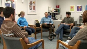 In a scene from this training video, trained actors demonstrate Davis' mindfulness-based approach.