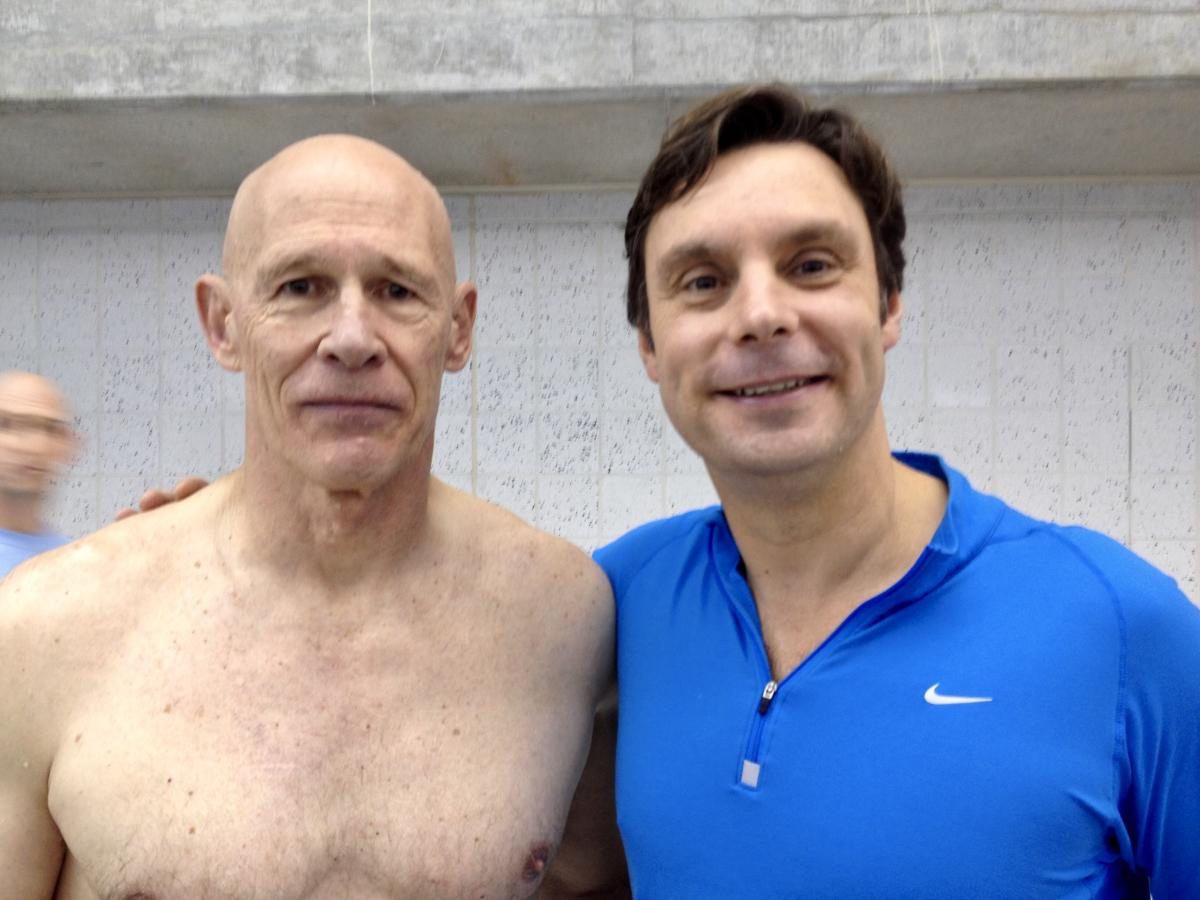 Bob List and Dr. George at a masters swim event in 2016.