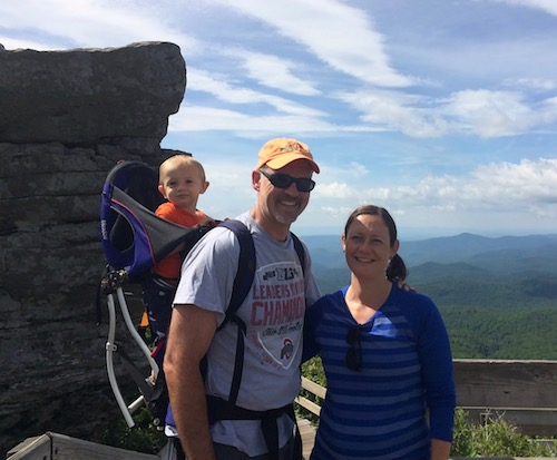 Eric and Katherine Hall enjoying a hike with their son Spencer, July 2016, after he was cleared of testicular cancer.