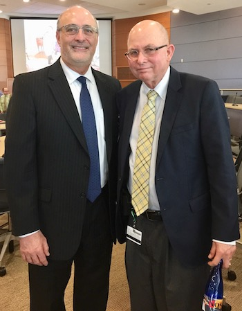Michael Kastan, MD, PhD (Director of Duke Cancer Institute) with Mark Dewhirst, DVM, PhD. (April 2017)