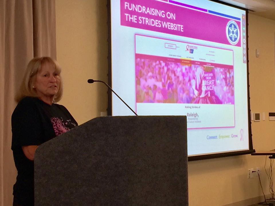 Five-year breast cancer survivor Kay Talley was inspired by her care at Duke by P. Kelly Marcom, MD, and E. Shelley Hwang, MD, to raise money for breast cancer care and research.