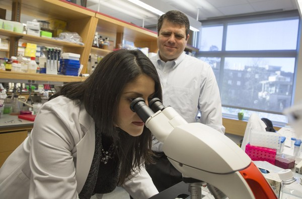 Melodi Javid Whitley and David Kirsch, MD, PhD. Kirsch is the senior author of a study that shows a new injectable agent can cause cancer cells in a tumor to fluoresce, potentially increasing a surgeon's ability to locate and remove all of a cancerous tumor on the first attempt. Shawn Rocco/Duke Medicine