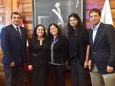 In September, DGHI researchers presented their cervical cancer research to the Minister of Health in Peru. Pictured here are (from left) Dr. Gino Venegas (La Liga Contra el Cancer), Dr. Patricia Garcia (Minister of Health), Dr. Maribel Almonte (International Agency for Research on Cancer) and DGHI's Nimmi Ramanujam and Ernesto Ortiz. (photo courtesy DGHI)