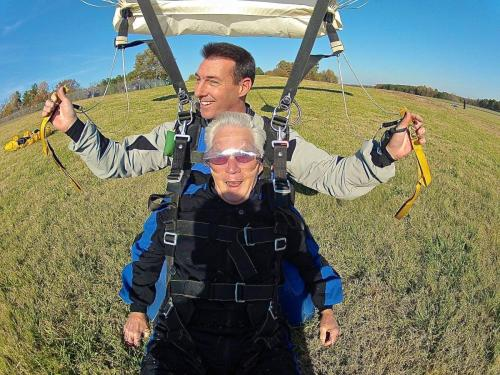 """""""This jump was the best one yet,"""" said Norris, after completing his third jump. """"Gregg even let me handle the shroud lines on our way down. I look forward to next year's jump."""" Photo: Don Carrington"""