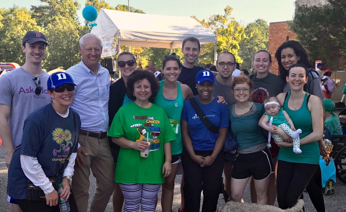 The Duke Ob/Gyn team laces up for the Gail Parkins Memorial Ovarian Cancer Walk and 5K Run.
