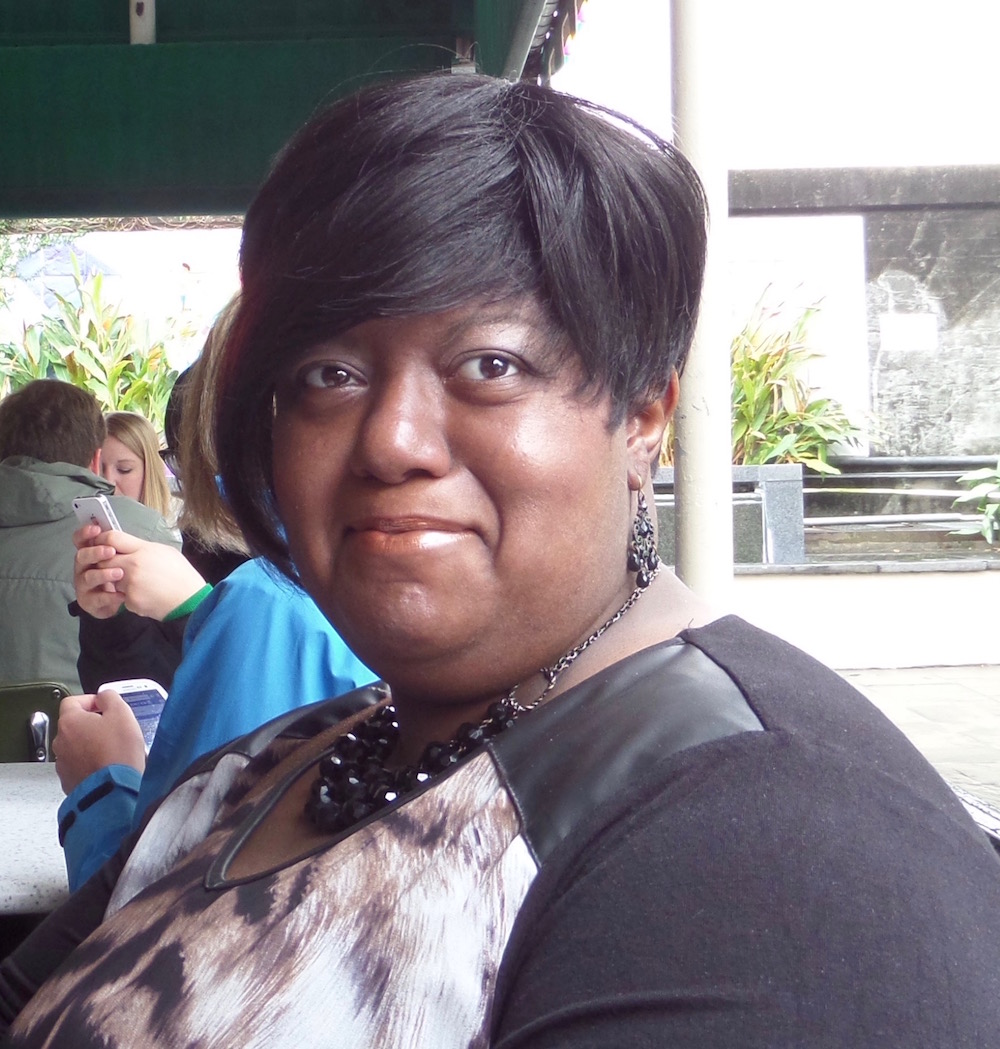 Bonita Holliday-Guy at lunch in New Orleans at Café du Monde; with a new wig.