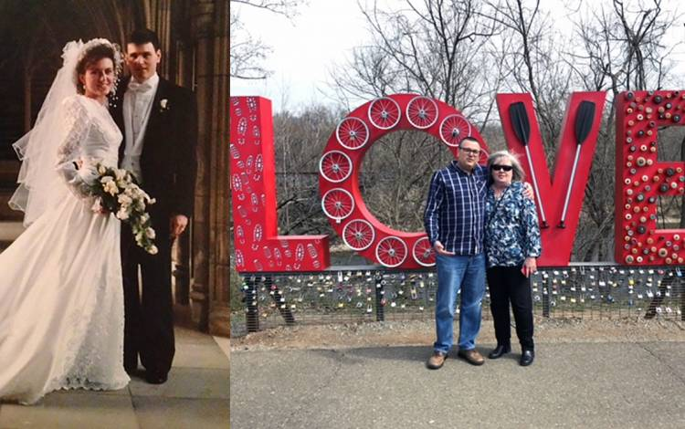 (Left) Ronda and Tim Pulliam on the day of their wedding at Duke University Chapel. (Right) Tim and Ronda in Lynchburg, Va.