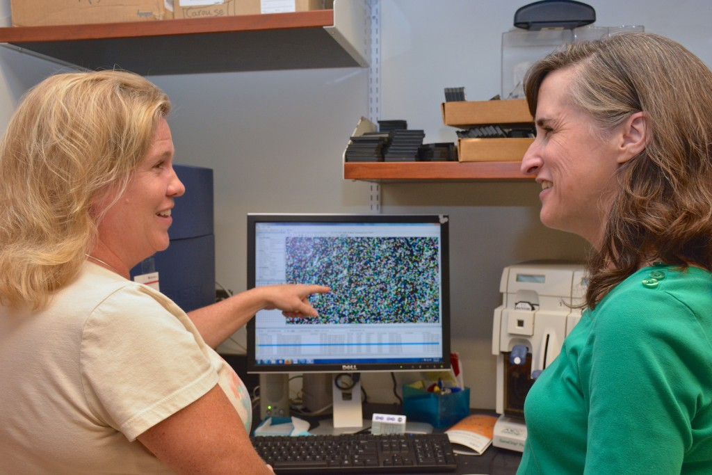 Laura-Leigh Rowlette, lab manager, and Heather Hemric, research manager, view an Affymetrix GeneChip gene expression array.