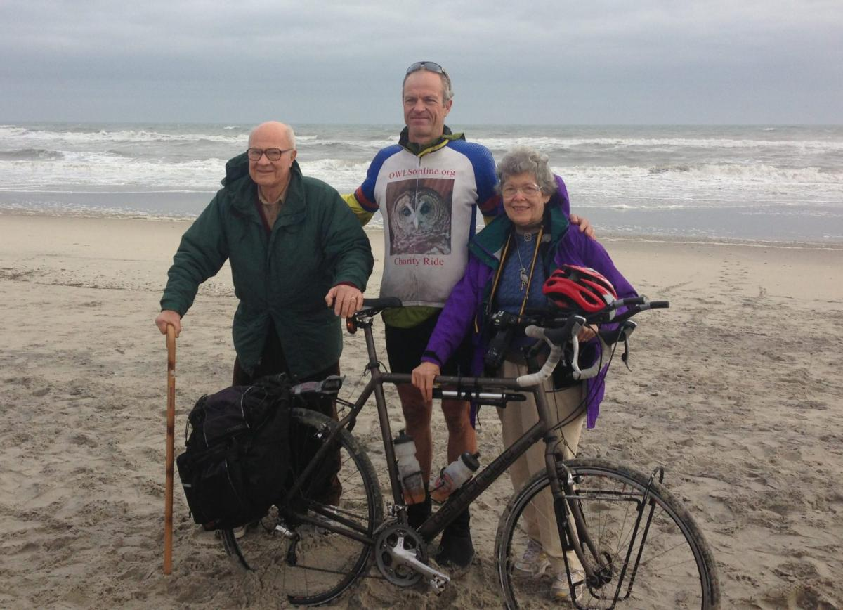 Paul Rudershausen's father and mother (above) embraced and encouraged his spirit of adventure. This photo was taken on the North Carolina coast at the end of his cross-country solo-cycling trip to benefit the Outer Banks Wildlife Shelter. Rudershausen's next ride, in July, will benefit Duke Cancer Institute and memorialize his mother, who has since passed away from metastatic lung cancer.