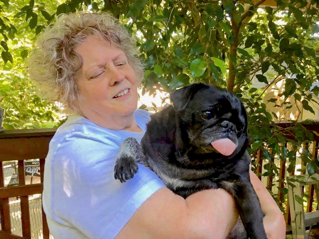 Illinois residents Sharon Feipel (above) and her husband Bill donated their pug Odin's tumor for sarcoma research at Duke. (After surgery and treatment for his cancer on his right leg, Odin's hair grew back white)