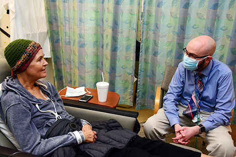 "Following kidney failure, Barbara Boros, 58, came to Duke from Santa Barbara, for a kidney transplant and bone marrow transplant; both from the same donor. It was a unique procedure, a trial that only 37 patients across the U.S. had the opportunity to take part in. ""You don't know how grateful I am every day that I got in on this,"" she said. ""Matt told me what to expect and was very helpful."""